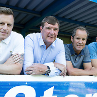 St Johnstone boss Tommy Wright pictured with his new back room team, from left Alan Maybury, Alec Cleland and Paul Mathers<br />Picture by Graeme Hart.<br />Copyright Perthshire Picture Agency<br />Tel: 01738 623350  Mobile: 07990 594431