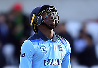 Cricket - 2019 ICC Cricket World Cup - Group Stage: England vs. Sri Lanka<br /> <br /> England's Jofra Archer dejected as he is caught by Sri Lanka's Thisara Perera off the bowling of Sri Lanka's Dhananjaya de Silva for 3, at Headingley, Leeds<br /> <br /> COLORSPORT/ASHLEY WESTERN