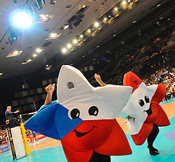 18.09.2011, Stadthalle, Wien, AUT, CEV, Europaeische Volleyball Meisterschaft 2011, Finale, Italien vs Serbien, im Bild Feature Maskottchen Euro Volley Austria, Czech Republic // during the european Volleyball Championship Final Italy vs Serbia, at Stadthalle, Vienna, 2011-09-18, EXPA Pictures © 2011, PhotoCredit: EXPA/ M. Gruber