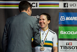 Podium / David Lappartient, president of UCI and Amanda Spratt of Australia Silver Medal / Celebration / during the Women's Elite Road Race a 156.2km race from Kufstein to Innsbruck 582m at the 91st UCI Road World Championships 2018 / RR / RWC / on September 29, 2018 in Innsbruck, Austria.  Photo by Vid Ponikvar / Sportida
