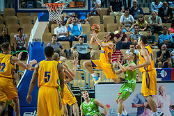 Klemen Prepelic and Zoran Dragic of Slovenia vs Olexandr Mishula of Ukraine during friendly basketball match between National teams of Slovenia and Ukraineat day 1 of Adecco Cup 2015, on August 21 in Koper, Slovenia. Photo by Grega Valancic / Sportida
