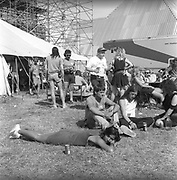 Backstage field of the Pyramid stage. Glastonbury 1989.