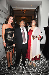 ELLA KRASNER and SIR V S & LADY NAIPAUL at the Liberatum Dinner hosted by Ella Krasner and Pablo Ganguli in honour of Sir V S Naipaul at The Landau at The Langham, Portland Place, London on 23rd November 2010.