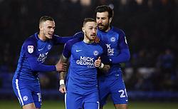 Marcus Maddison of Peterborough United (centre) celebrates his goal with team-mates Joe Ward (left) and Michael Doughty (right) - Mandatory by-line: Joe Dent/JMP - 13/02/2018 - FOOTBALL - ABAX Stadium - Peterborough, England - Peterborough United v Scunthorpe United - Sky Bet League One