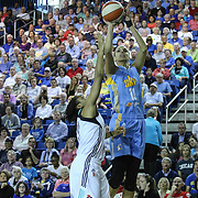Chicago Sky Forward Elena Delle Donne (11), RIGHT, takes a jump shot in the first period of a WNBA preseason basketball game between the Chicago Sky and the New York Liberty Friday, May. 22, 2015 at The Bob Carpenter Sports Convocation Center in Newark, DEL