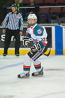 KELOWNA, CANADA - SEPTEMBER 5: Ted Brennan #22 of Kelowna Rockets skates against the Prince George Cougars on September 5, 2015 during the first pre-season game at Prospera Place in Kelowna, British Columbia, Canada.  (Photo by Marissa Baecker/Shoot the Breeze)  *** Local Caption *** Ted Brennan;
