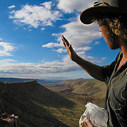 Australian Sam Bright pauses to describe the geology of the South King Leopold Mountain Range in the Kimberly region of Australia.  Photo by Jen Klewitz