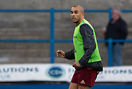 Munster's Simon Zebo during the pre match warm up<br /> <br /> Photographer Simon King/Replay Images<br /> <br /> Guinness PRO14 Round 15 - Cardiff Blues v Munster - Saturday 17th February 2018 - Cardiff Arms Park - Cardiff<br /> <br /> World Copyright &copy; Replay Images . All rights reserved. info@replayimages.co.uk - http://replayimages.co.uk