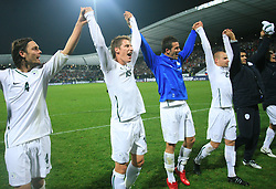 Slovenian players Marko Suler (4), Valter Birsa (10, Mirnes Sisic (7), Miso Brecko (2), Radisavljevic and Seliga celebrate at the fourth round qualification game of 2010 FIFA WORLD CUP SOUTH AFRICA in Group 3 between Slovenia and Northern Ireland at Stadion Ljudski vrt, on October 11, 2008, in Maribor, Slovenia.  (Photo by Vid Ponikvar / Sportal Images)