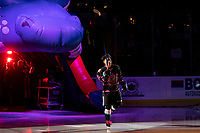 KELOWNA, BC - SEPTEMBER 21:  Trevor Wong #8 of the Kelowna Rockets enters the ice for home opener against the Spokane Chiefs at Prospera Place on September 21, 2019 in Kelowna, Canada. (Photo by Marissa Baecker/Shoot the Breeze)