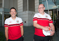 CARDIFF, WALES - Tuesday, September 4, 2012: Wales' masseur David Rowe and Medical Officer Doctor Mark Ridgewell at the St. David's Hotel ahead of the Brazil 2014 FIFA World Cup Qualifying Group A match against Belgium. (Pic by David Rawcliffe/Propaganda)