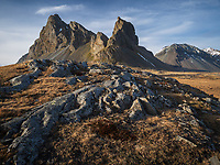 Mount Eystrahorn (756 m) at Hvalnes, east of Lón in Austur-Skaftafellssýsla, Southeast Iceland. Minirals such as gold, silver and quicksilver can be found in the mountain, although not in enough quantities to justify mining. Southeast Iceland.