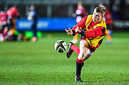Dragons' Dan Babos during the pre match warm up<br /> <br /> Photographer Craig Thomas/Replay Images<br /> <br /> Guinness PRO14 Round 18 - Dragons v Cheetahs - Friday 23rd March 2018 - Rodney Parade - Newport<br /> <br /> World Copyright © Replay Images . All rights reserved. info@replayimages.co.uk - http://replayimages.co.uk