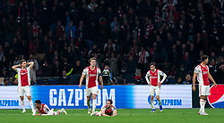 08-05-2019 NED: Semi Final Champions League AFC Ajax - Tottenham Hotspur, Amsterdam<br /> After a dramatic ending, Ajax has not been able to reach the final of the Champions League. In the final second Tottenham Hotspur scored 3-2 / Joel Veltman #3 of Ajax, Noussair Mazraoui #12 of Ajax, Daley Blind #17 of Ajax, Matthijs de Ligt #4 of Ajax, Nicolas Tagliafico #31 of Ajax, Lisandro Magallan #16 of Ajax