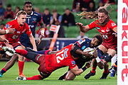 MELBOURNE, AUSTRALIA - APRIL 06: Marika Koroibete of the Rebels attempts for a try at round 8 of The Super Rugby match between Melbourne Rebels and Sunwolves on April 06, 2019 at AAMI Park in VIC, Australia. (Photo by Speed Media/Icon Sportswire)
