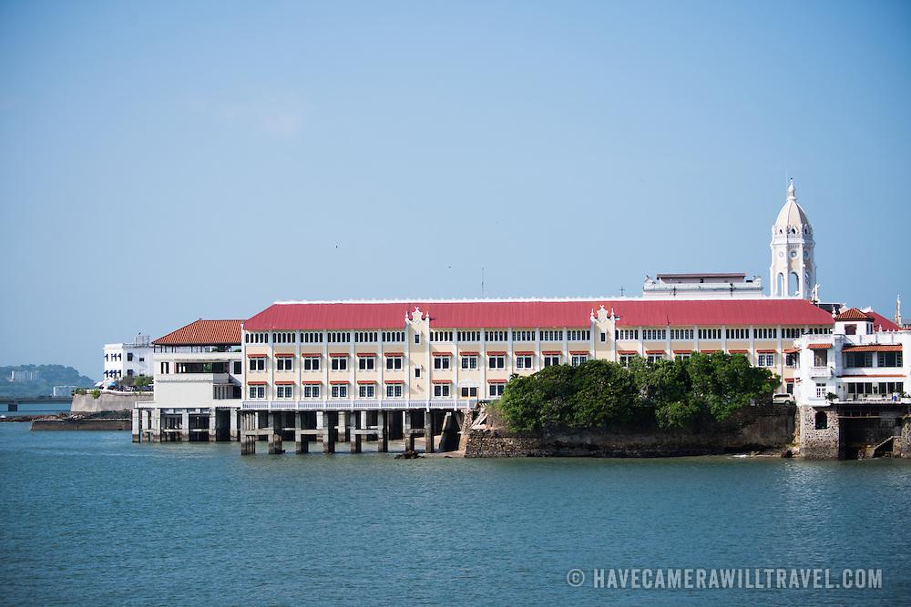 Historic buildings on the waterfront of Panama City, Panama, on Panama Bay.