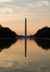 Washington DC; USA: The Reflecting Pool on the National Mall, with the Washington Monument in the background, at dawn.Photo copyright Lee Foster Photo # 5-washdc82613