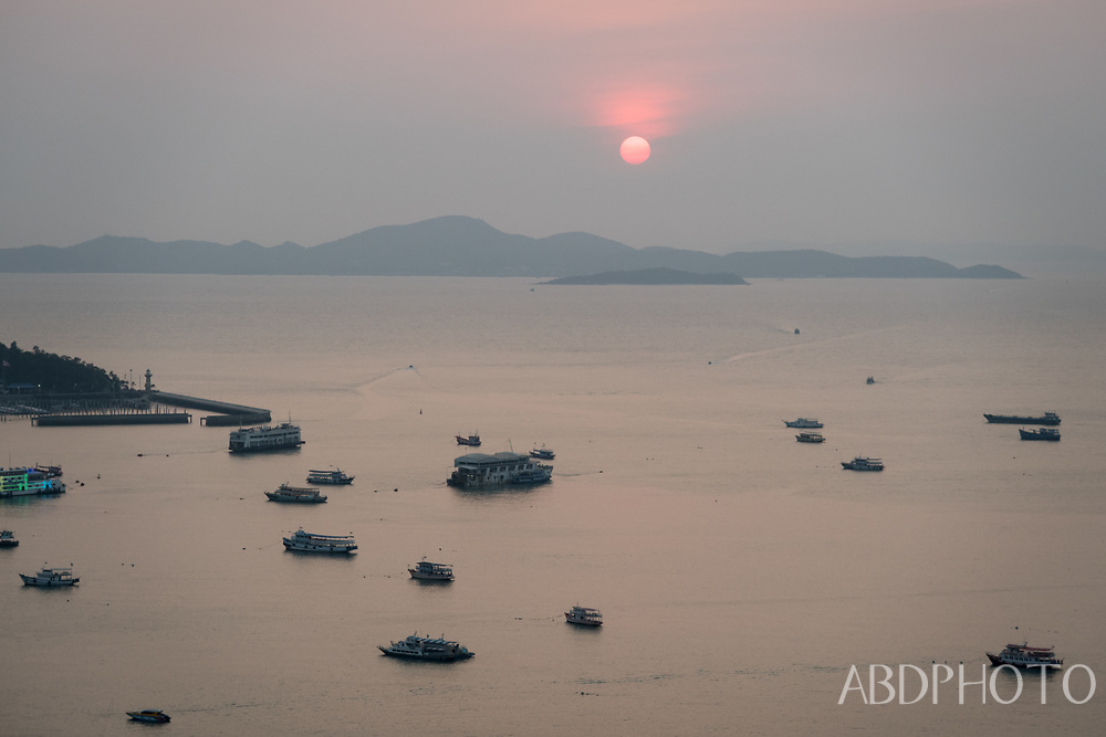 pattaya, phayttaya, thailand, chonburi, sunset, boats, buildings