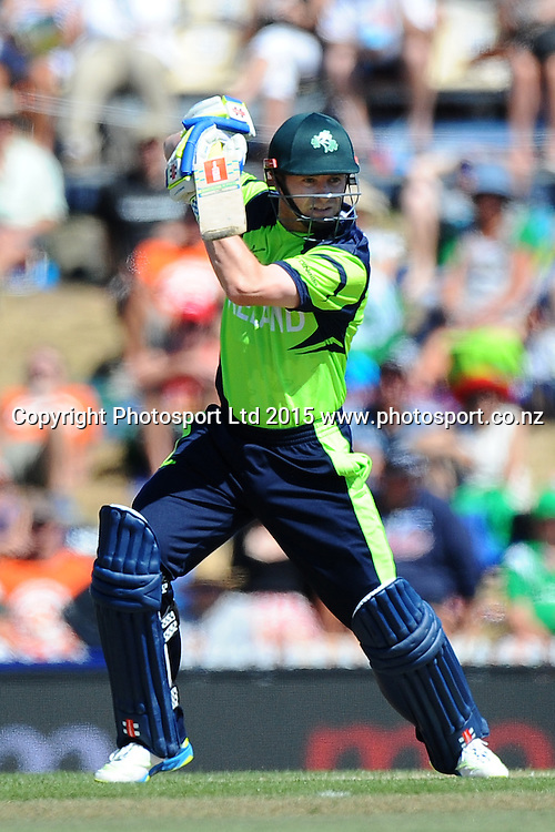 Ireland player William Porterfield during the 2015 ICC Cricket World Cup match between West Indies and Ireland. Saxton Oval, Nelson, New Zealand. Monday 16 February 2015. Copyright Photo: Chris Symes / www.photosport.co.nz