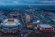 Nederland, Noord-Holland, Amsterdam, 16-01-2014; Arenagebied Amsterdam-Zuidoost in de avondschemering met Amsterdam Arena, Ziggo Dome, Woonmall en kantoren.<br /> Amsterdam Southeastr with Ajax Stadium (Amsterdam Arena) and concert hall Ziggo Dome.<br /> luchtfoto (toeslag op standaard tarieven);<br /> aerial photo (additional fee required);<br /> copyright foto/photo Siebe Swart.