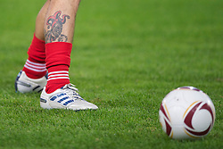 NAPELS, ITALY - Thursday, October 21, 2010: A tattoo on the right leg of Liverpool's Maximiliano Ruben Maxi Rodriguez pictured before the UEFA Europa League Group K match against SSC Napoli at the Stadio San Paolo. (Pic by: David Rawcliffe/Propaganda)