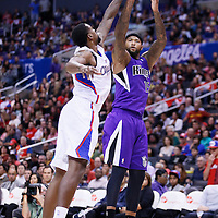 25 October 2013: Sacramento Kings center DeMarcus Cousins (15) is blocked by Los Angeles Clippers center DeAndre Jordan (6) during the Sacramento Kings 110-100 victory over the Los Angeles Clippers at the Staples Center, Los Angeles, California, USA.