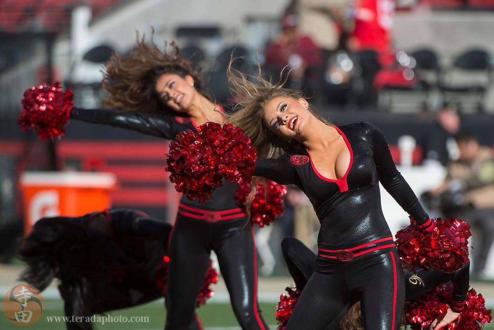 November 29, 2015; Santa Clara, CA, USA; San Francisco 49ers Gold Rush cheerleaders Jordan (left) and Sophia (right) perform before the game against the Arizona Cardinals at Levi's Stadium. The Cardinals defeated the 49ers 19-13.