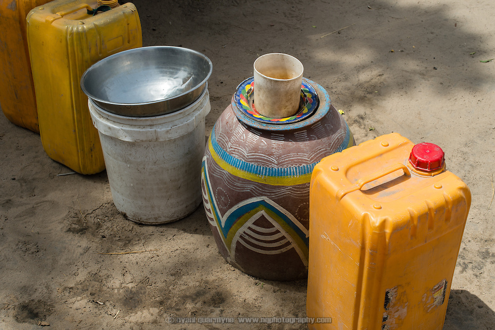 Containers used to store water in the village of Din-Rimi in the Zinder Region of Niger on 24 July 2013.