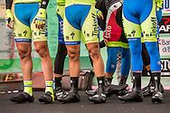 Tinkoff-Saxo team on the signature check podium of Il Lombardia 2015 Bergamo - Como