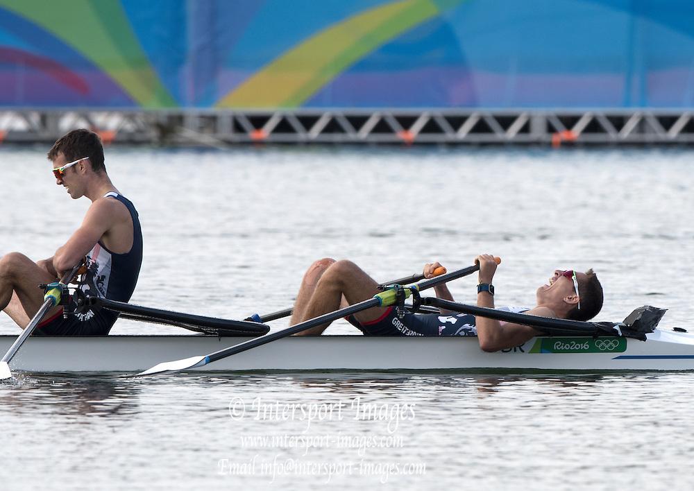 Rio de Janeiro. BRAZIL.  GBR LM2X Bow William FLECTHER and Richard CHAMBERS2016 Olympic Rowing Regatta. Lagoa Stadium,<br /> Copacabana,  &ldquo;Olympic Summer Games&rdquo;<br /> Rodrigo de Freitas Lagoon, Lagoa. Local Time 09:16:41  Thursday  11/08/2016 <br /> [Mandatory Credit; Peter SPURRIER/Intersport Images]