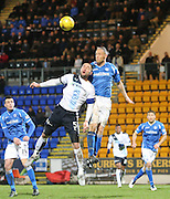 St Johnstone&rsquo;s Steven Anderson oujumps Dundee&rsquo;s James McPake - St Johnstone v Dundee, Ladbrokes Scottish Premiership at McDiarmid Park<br /> <br />  - &copy; David Young - www.davidyoungphoto.co.uk - email: davidyoungphoto@gmail.com