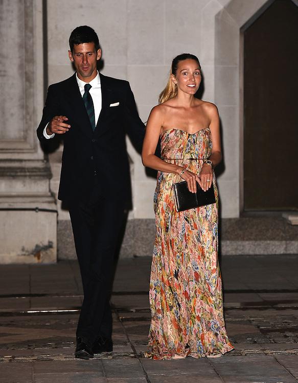 Novak Djokovic and Jelena Djokovic attend the 2015  Wimbledon Champions Dinner at The Guildhall, Gresham Street, London on Sunday 12 July 2015