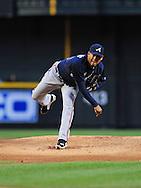 May 19 2011; Phoenix, AZ, USA; Atlanta Braves starting pitcher Jair Jurrjens (49) delivers a pitch during the first inning against the Arizona Diamondbacks at Chase Field. Mandatory Credit: Jennifer Stewart-US PRESSWIRE..