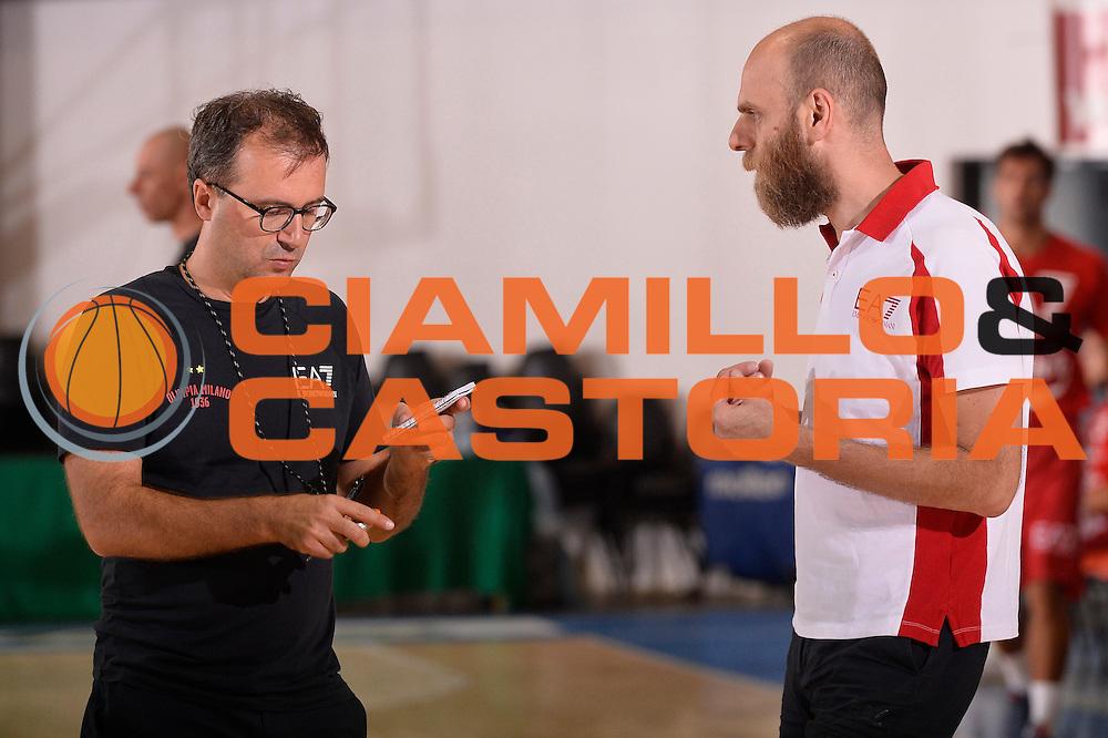 Massimo Cancellieri Mario Fioretti <br /> EA7 Emporio Armani Olimpia Milano allenamento<br /> Lega Basket Serie A 2016/2017<br /> Bormio 03/09/2016<br /> Foto Ciamillo-Castoria