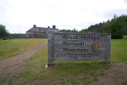 National Park Service sign for Grand Portage National Monument, Grand Portage, Minnesota, United States of America