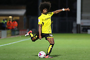 Burton Albion midfielder Hamza Choudhury (19) crosses the ball during the EFL Cup match between Burton Albion and Bury at the Pirelli Stadium, Burton upon Trent, England on 10 August 2016. Photo by Aaron  Lupton.