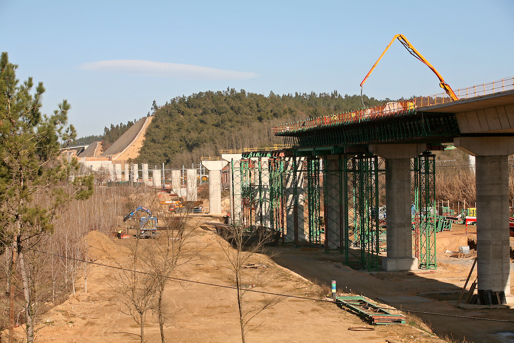 Construction of the line of the spanish high speed rail that links Barcelona with the French border  via the city of Girona..Catalonia. Spain.