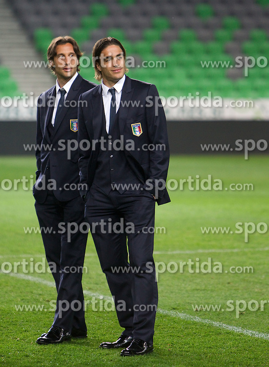 Stefano Mauri and Alessandro Matri of National team of Italy at Stadium Stozice 1 day before EURO 2012 Qualifications match against Italy, on March 24, 2011, SRC Stozice, Ljubljana, Slovenia. (Photo by Vid Ponikvar / Sportida)