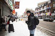 Feb.4 2014 - New York, NY. After left the St. Anthony, Peter Rivera walked seven blocks Melrose Avenue, he arrived at the McDonald's at 3rd and Melrose Avenue. It is one of the places where he and other homeless people usually hang out. 02/04/2014 Photograph by Qingqing Chen/NYCity Photo Wire