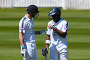 Batsmen James Vince of Hampshire and Michael Carberry of Hampshire during the Specsavers County Champ Div 1 match between Somerset County Cricket Club and Hampshire County Cricket Club at the Cooper Associates County Ground, Taunton, United Kingdom on 26 May 2017. Photo by Graham Hunt.