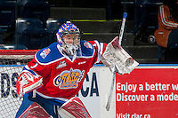 KELOWNA, CANADA - FEBRUARY 22: Patrick Dea #1 of the Edmonton Oil Kings warms up in net against the Kelowna Rockets on February 22, 2017 at Prospera Place in Kelowna, British Columbia, Canada.  (Photo by Marissa Baecker/Shoot the Breeze)  *** Local Caption ***