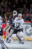 KELOWNA, CANADA - FEBRUARY 16: Jake DeBrusk #19 of Red Deer Rebels looks for the pass in front of the net of Michael Herringer #30 of Kelowna Rockets on February 16, 2016 at Prospera Place in Kelowna, British Columbia, Canada.  (Photo by Marissa Baecker/Shoot the Breeze)  *** Local Caption *** Michael Herringer; Jake DeBrusk;