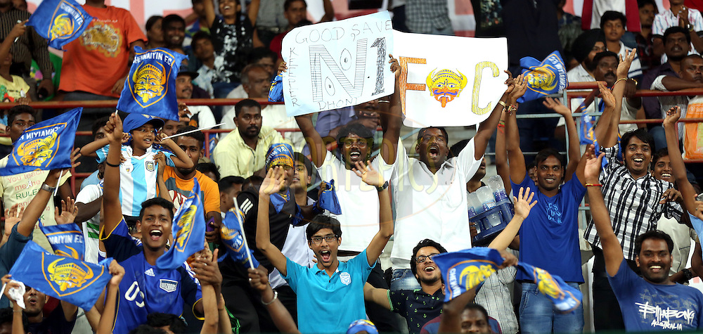 Fan's enjoy's during match 15 of the Hero Indian Super League between Chennaiyin FC and Mumbai City FC held at the Jawaharlal Nehru Stadium, Chennai, India on the 28th October 2014.<br /> <br /> Photo by:  Sandeep Shetty/ ISL/ SPORTZPICS