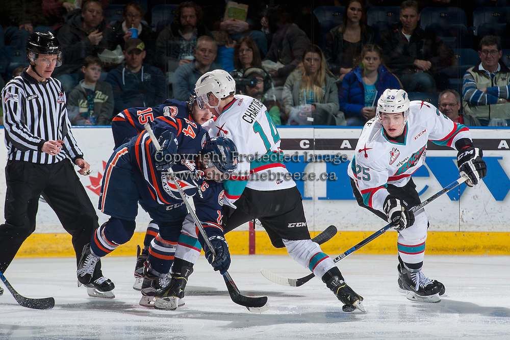 KELOWNA, CANADA - MARCH 5: Rourke Chartier #14 of Kelowna Rockets checks Matt Needham #14 of Kamloops Blazers on March 5, 2016 at Prospera Place in Kelowna, British Columbia, Canada.  (Photo by Marissa Baecker/Shoot the Breeze)  *** Local Caption *** Rourke Chartier; Matt Needham;