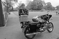 Female Park Patrol Sheffield City Council with her Triumph motorcycle.