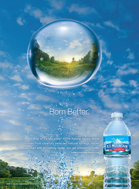 Bottle of Ice Mountain Water and splash with large bubble and refracted Landscape Ray Massey is an established, award winning, UK professional  photographer, shooting creative advertising and editorial images from his stunning studio in a converted church in Camden Town, London NW1. Ray Massey specialises in drinks and liquids, still life and hands, product, gymnastics, special effects (sfx) and location photography. He is particularly known for dynamic high speed action shots of pours, bubbles, splashes and explosions in beers, champagnes, sodas, cocktails and beverages of all descriptions, as well as perfumes, paint, ink, water – even ice! Ray Massey works throughout the world with advertising agencies, designers, design groups, PR companies and directly with clients. He regularly manages the entire creative process, including post-production composition, manipulation and retouching, working with his team of retouchers to produce final images ready for publication.
