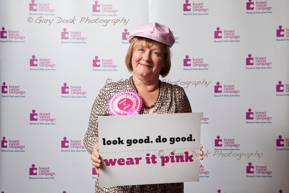 Breast Cancer Campaign. <br /> MSP's 'Wear it Pink!' at the Scottish Parliament, Holyrood, Edinburgh.<br /> <br /> Maureen Watt, MSP.