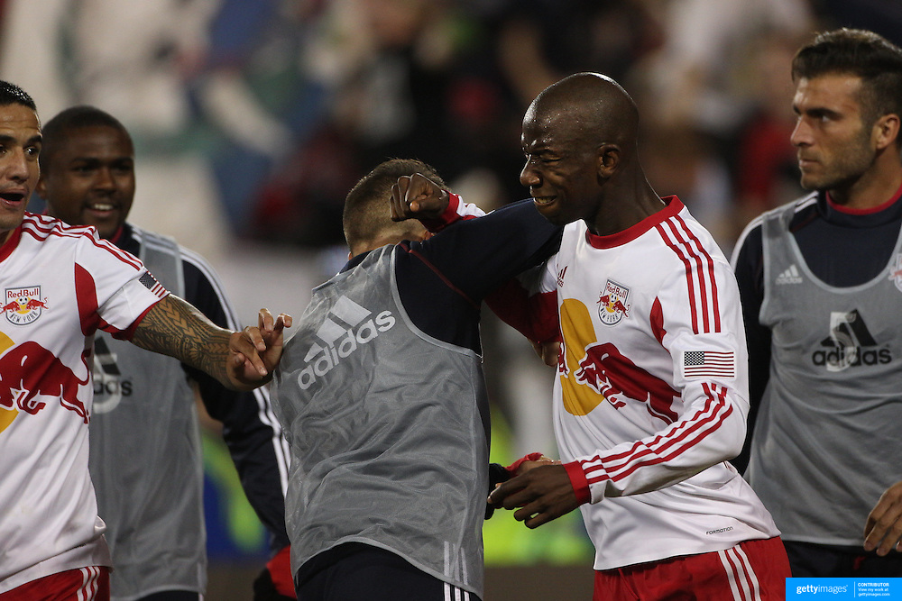 Bradley Wright-Phillips, New York Red Bulls, celebrates after scoring the winning goal in the 90th minute to lead his side to a 2-1 victory during the New York Red Bulls V Sporting Kansas City, Major League Soccer Play Off Match at Red Bull Arena, Harrison, New Jersey. USA. 30th October 2014. Photo Tim Clayton