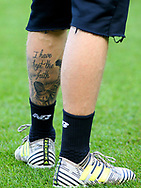 A tattoo on the left leg of Loris Karius of Liverpool during the Pre-season Friendly match at the Aviva Stadium, Dublin<br /> Picture by Yannis Halas/Focus Images Ltd +353 8725 82019<br /> 05/08/2017
