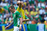 Paris, France - 2016 June 13: Zlatan Ibrahimovic of Sweden reacts after his missed shoot on goal while Sweden v Ireland match during Soccer European Championships UEFA EURO 2016 at Stade de France on June 13, 2016 in Paris, France.<br /> <br /> Adam Nurkiewicz declares that he has no rights to the image of people at the photographs of his authorship.<br /> <br /> Picture also available in RAW (NEF) or TIFF format on special request.<br /> <br /> Any editorial, commercial or promotional use requires written permission from the author of image.<br /> <br /> Mandatory credit:<br /> Photo by © Adam Nurkiewicz